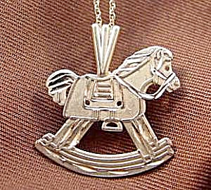 14K Yellow Gold Rocking Horse Pendant - 21 inch Chain (Image1)