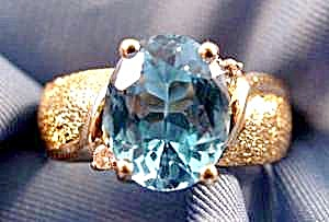 Blue Oval Topaz Ring - 10k Yellow Gold - Size 5.5