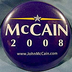 John McCain 2008 Political Button (Image1)