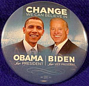 OBAMA - BIDEN Political Campaign Button - 2008 (Image1)