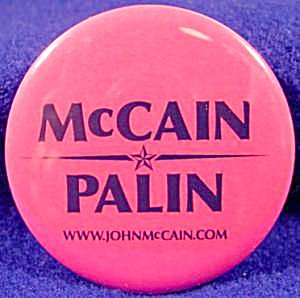Mccain - Palin Metal Political Button - 2008