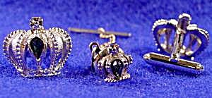 Cuff Link Tie Tac Set - Crowns with Blue Stones  (Image1)