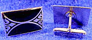 Gents Silvertone Cuff Links with Black Enamel - Vintage (Image1)