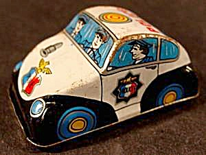 Lithograph Tin Friction Police Car - Japan