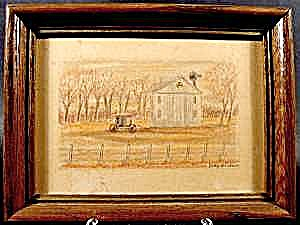 Amish Farm Scene - Tinted Pen and Ink Drawing - Signed (Image1)