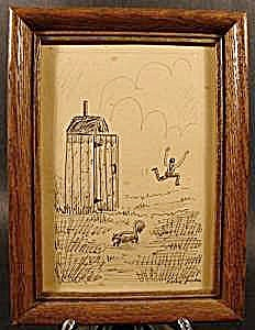 Humorous Pen And Ink Drawing - Outhouse Scene - Signed