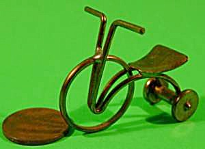 Doll House Miniature Brass Tricycle - Vintage