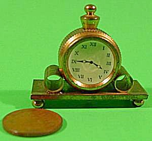 Doll House Miniature Brass Mantel Clock - Vintage