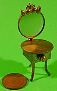 Doll House Miniature Brass Vanity with Mirror - Vintage (Image1)