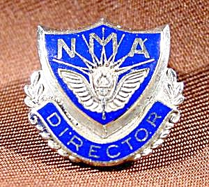 Nma Director - Lapel Pin Button - 10k W.g.