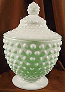Fenton Milk Glass Hobnail Covered Candy Dish - Vintage