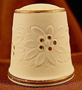 Floral Embossed Bisque Thimble - W. Germany