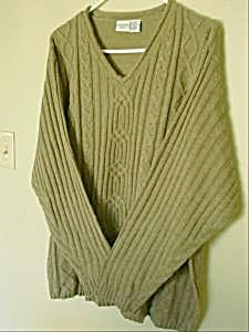 Ladies Olive Green V-neck Pullover Sweater - Sz 24w