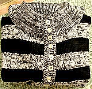 Black Stripe Ladies Cardigan Sweater - Lauren Brooks