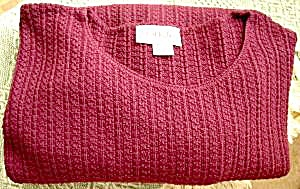 Ladies Pullover Sweater - Cranberry - 2x - Side Slits
