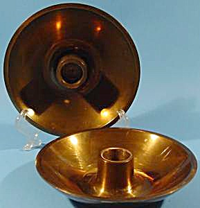 Danish Design Heavy Brass Candlestick Holder Pair - Mcm