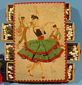 Hand Embroidered Bolero Dancer Postcard Match Box Set