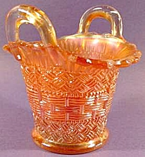 Dugan-Diamond Marigold Carnival Beaded Basket -1914 (Image1)