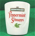 Click here to enlarge image and see more about item AAA107: Shot Glass - Hiram Walker - Peppermint Schnapps