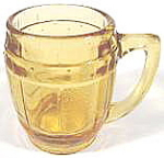 Click here to enlarge image and see more about item AAA136a: Shot Glass ~ Amber Barrel Mug