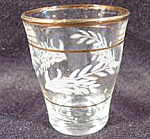 Click here to enlarge image and see more about item AAA141a: Acid Etched Shot Glass ~ Italy