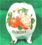 Click here to enlarge image and see more about item AAA159: Vintage Souvenir Florida Egg Toothpick ~ Porcelain