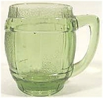 Click here to enlarge image and see more about item AAA169: Shot Glass ~ Green Glass Barrel Mug