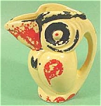 Click here to enlarge image and see more about item AAA249: Yellow Ceramic Bird Pitcher ~ Made In Japan