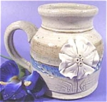 Click here to enlarge image and see more about item AAA281: Gray and Blue Stoneware Jug Vase ~ Applied Flower