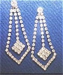 Beautiful Vintage Rhinestone Dangle Earrings - Pierced