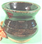 Click here to enlarge image and see more about item AAA309: Stoneware Spittoon  ~ Dark Brown Glaze