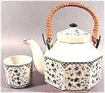 Click here to enlarge image and see more about item AAA335: Blue on White 5 Pc. Teaset - Japan