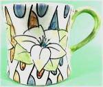 Click here to enlarge image and see more about item AAA344: Set of 4 Hand Painted Ceramic Coffee Mugs