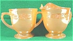 Click here to enlarge image and see more about item AAA35: Creamer and Sugar - Hocking - Peach Lustre - 1952