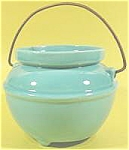 Click here to enlarge image and see more about item AAA439: Footed Bean Pot Style Planter ~ Aqua ~ California