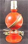 Click here to enlarge image and see more about item AAA543: Red Metal Globe Table Lamp ~ 1940-50 Ohio Art