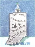 Click here to enlarge image and see more about item AAA583: Indiana Map Pendant Charm - Sterling Silver