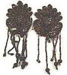 Click here to enlarge image and see more about item AAA621: Antique Glass Bead Appliques - Brown Iridescent - Pair