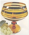 Click here to enlarge image and see more about item AAA643: Art Glass Compote - Amber with Gold Bands - Vintage