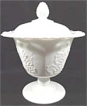 Click here to enlarge image and see more about item AAA669: Milk Glass Grape Pattern Covered Candy Dish