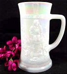 Click here to enlarge image and see more about item AAA675: Opalescent Milk Glass Tankard ~ Tavern Scene ~ Fenton ?