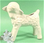 Click here to enlarge image and see more about item AAA685: White Matte Glaze Lamb Pottery Planter ~ Shawnee ?