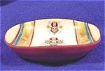 Click here to enlarge image and see more about item AAA689: Enameled Metal Dish ~ Unmarked ~ Vintage