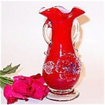 Vintage Cased Glass Vase - Applied Floral - Murano