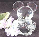 Click here to enlarge image and see more about item AAA707: Crystal Glass Mouse Paperweight - Adorable