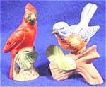Click here to enlarge image and see more about item AAA727: Bisque Bird Figurines - Cardinal and Bluebird - Pair
