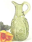 Click here to enlarge image and see more about item AAA730: Green Pressed Glass Cruet - No Stopper - Vintage