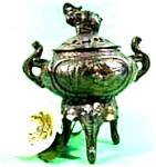 Click here to enlarge image and see more about item AAA737: Bronze Elephant Censer ~ Tri-Footed ~ Incense Burner