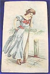 Click here to enlarge image and see more about item AAA78: Gibson Girl Postcard ~ Signed ~