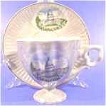 Click here to enlarge image and see more about item AAA800: Porcelain Souvenir Cup and Saucer ~ Capitol Building